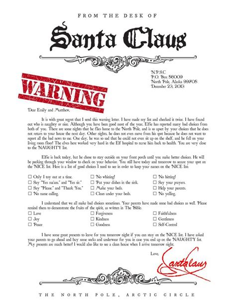 free printable elf warning letter warning letter from santa naught list how to love your