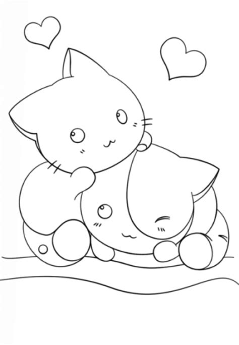 kawaii girl coloring pages two kawaii kittens in cute coloring page for girls