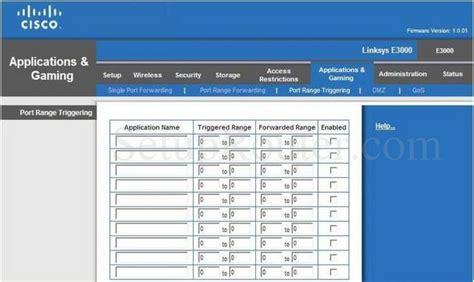 port range cisco linksys e3000 screenshot port range triggering