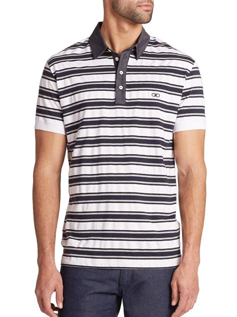 Polo Bb Stripe Navy Blue ferragamo striped polo in blue for navy lyst