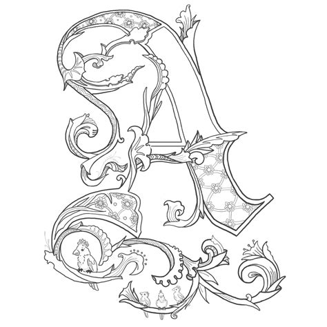 Illuminated Letters Coloring Pages stanne illuminated letters
