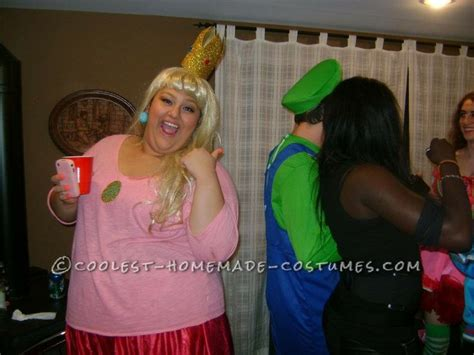 cool homemade  size princess peach halloween costume