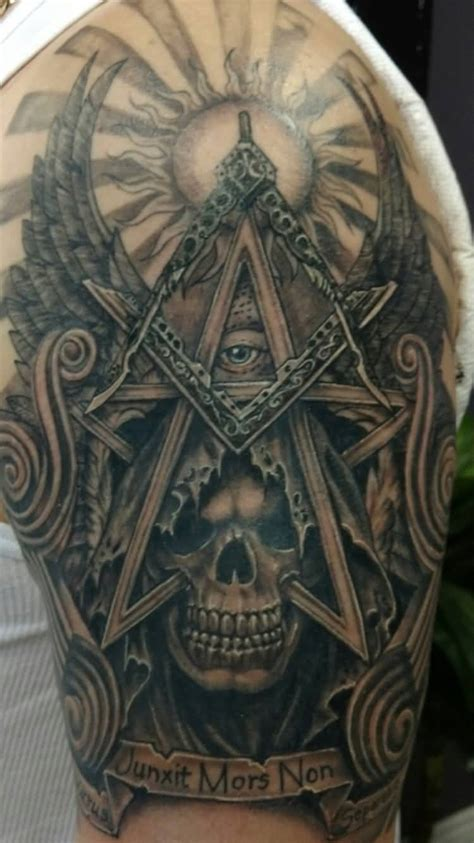 freemason tattoo 14 masonic half sleeve tattoos