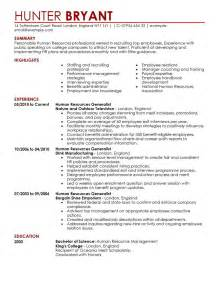 human resources resume exles human resources resume