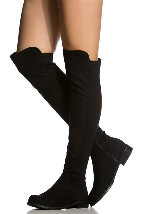 black faux suede knee high boots cicihot boots catalog