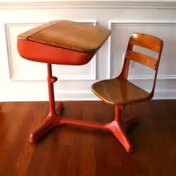 antique school desk vintage salmon elementary school desk storage and chair wood