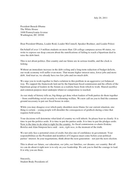 College President Letter To Students Student Presidents Debt Ceiling Letter