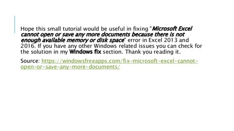 Microsoft Excel Cannot Open Or Save Any More Documents