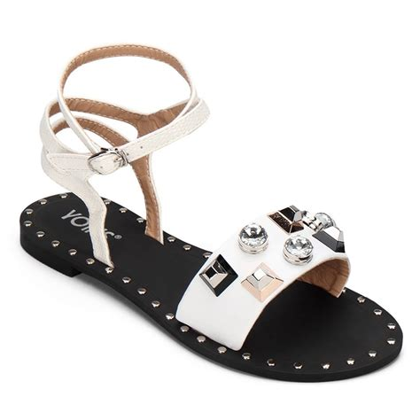 white and gold sandals white gold tone hardware leather look flat sandals