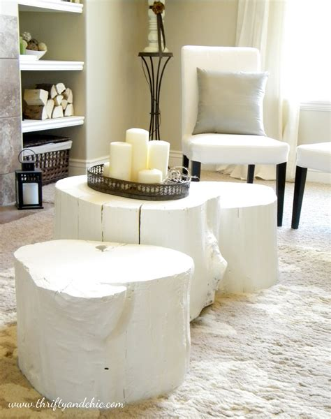 Tree Stump Coffee Table Diy Painted Tree Stump Coffee Table Thrifty And Chic The Inspired Room