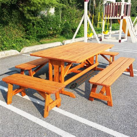 Custom Table Set custom picnic table with pedestal and benches custom
