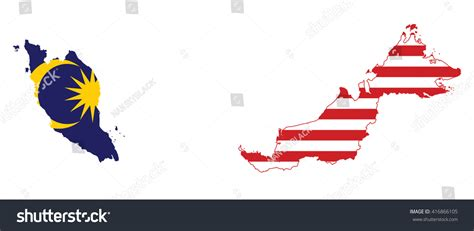 malaysia vector map vector illustration malaysia flag map stock vector