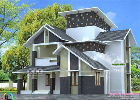 Sloping House Plans by Modern Sloping Roof 2275 Square Home Kerala Home