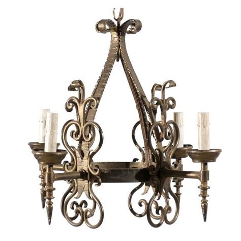 Stag Horn Chandelier French Gilded Iron Four Light Chandelier 20th Century For