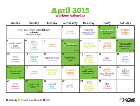 april 2015 workout calendar