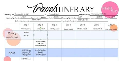 Travel Itinerary Templates by Vacation Itinerary Template
