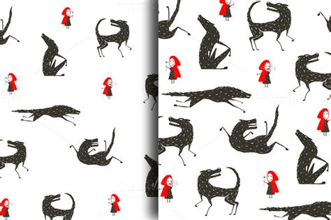 wolf pattern stock stock graphic little red riding hood black wolf