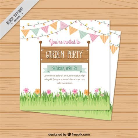 garden party invitation design vector free download