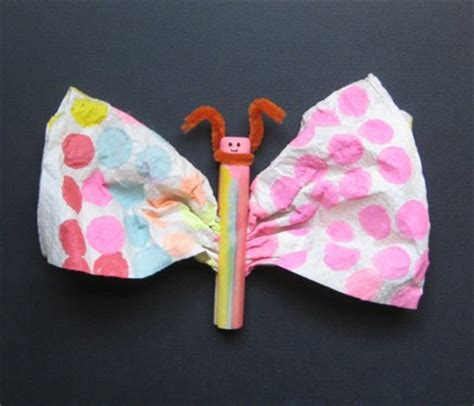 Paper Towel Crafts For Preschoolers - paper towel butterfly family crafts