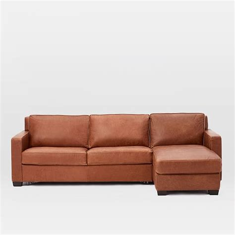 henry leather sectional henry 2 piece pull down leather sleeper sectional