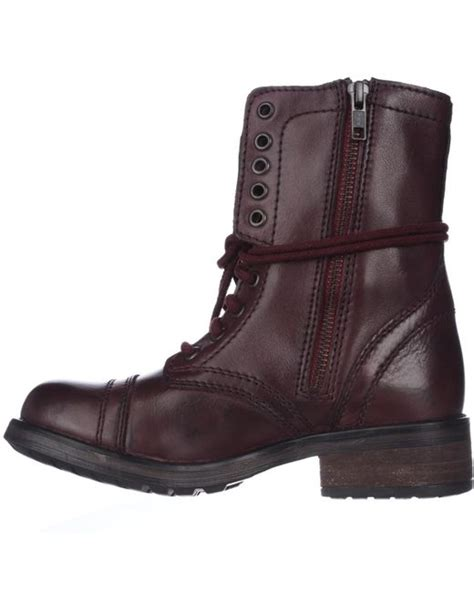steve madden tropa 2 0 leather combat boots in brown for