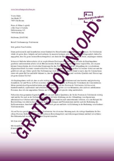 Anschreiben Muster Empfangsmitarbeiter bewerbungsschreiben telefonistin