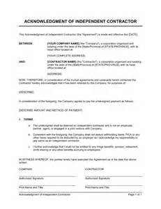 Acknowledgement Agreement Template acknowledgment of independent contractor template