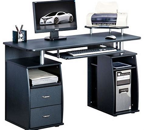 black computer desk with drawers home office computer desk
