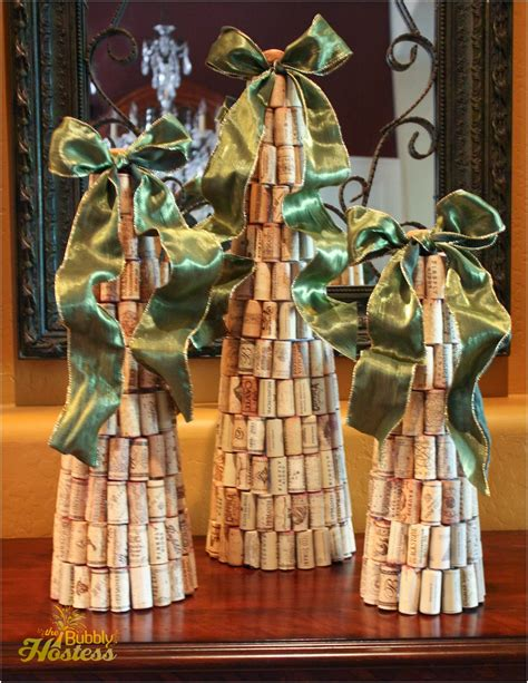 diy wine cork christmas trees topped with ribbon the