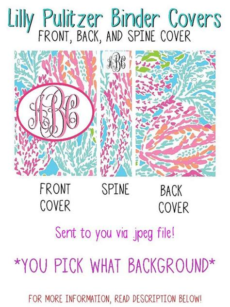 lilly pulitzer binder templates personalized lilly pulitzer binder cover front and back