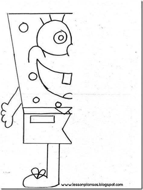 printable spongebob activity sheets sponge bob symmetry how to draw pinterest