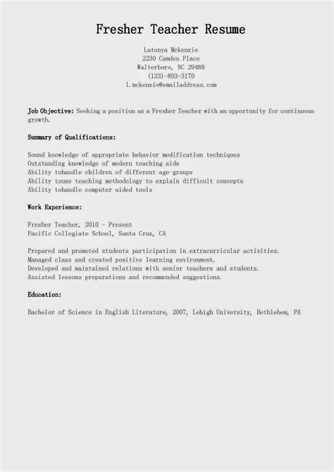 free sle resume for teachers freshers resume sles fresher resume sle