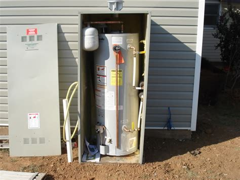 Kitchen Cabinet Install by Outdoor Water Heater Enclosure To Protect And Maintain Its