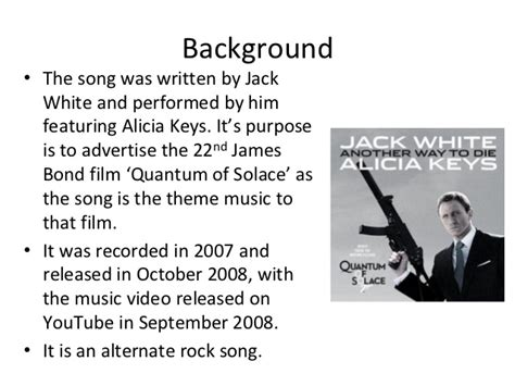 theme song quantum of solace alicia keys and jack white another way