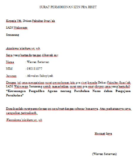 contoh surat lengkap the knownledge