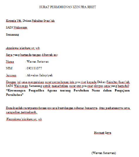 contoh surat permohonan pra riset contoh lengkap