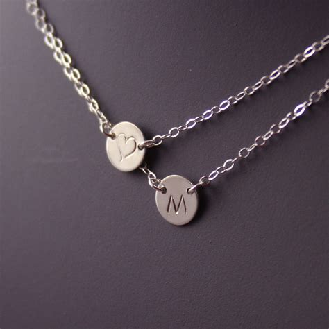 layered initial necklace two discs 187 gosia