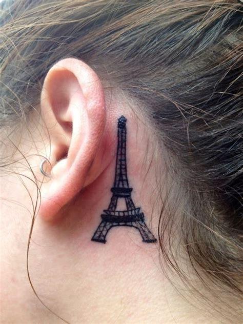 eiffel tower tattoo behind ear black ink eiffel tower tattoo behind the ear