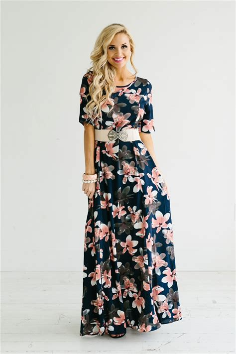 Modest Maxi Dresses by Navy Pink Floral Modest Maxi Dress Beautiful Modest