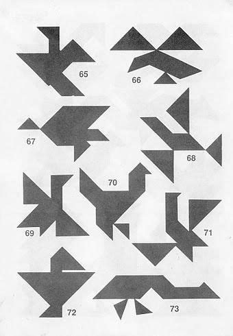 Figuras de pájaros Tangram con soluciones   Tangram