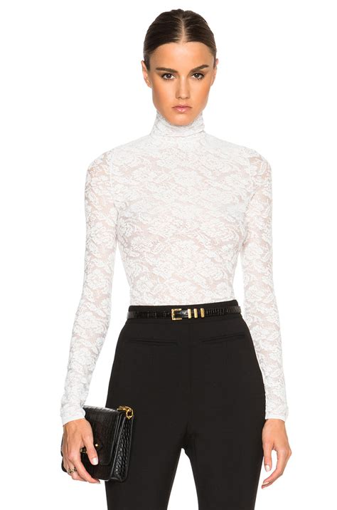 Turtle Neck stella mccartney turtle neck lace top in white lyst