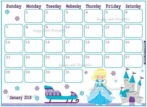 Calendar 2018 For Sale Sale Calendar January 2018 Princess Planner Printable