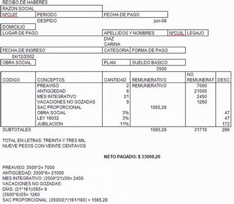 empleados de comercio liquidaci 243 n de vacaciones 2016 modelo de liquidacion de sueldo mensual