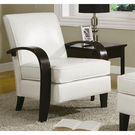 Furniture Accent Chair - wonda white bonded leather accent chair with wood arms ebay