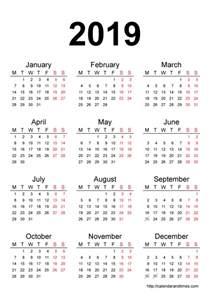 calendar 2019 printable one page calendar and times