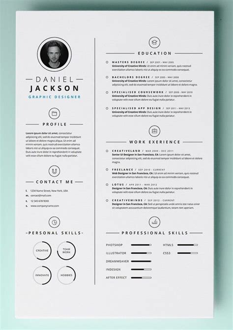 free design resume templates 25 best creative cv template ideas on