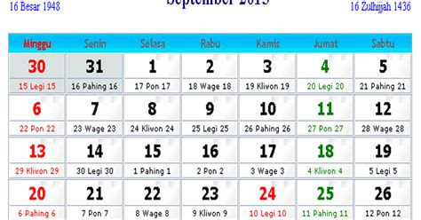 kalender indonesia september  kalender indonesia
