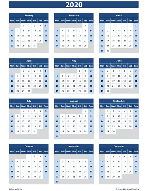 yearly calendar mon start excel template exceldatapro