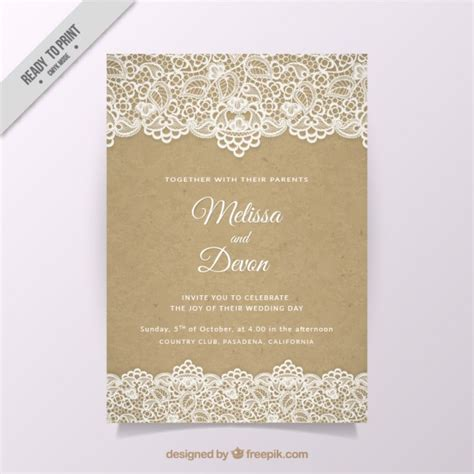 Wedding Invitations With Lace by Vintage Wedding Invitation With Lace Vector Free