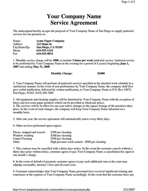 janitorial service contract template janitorial service contract template sletemplatess